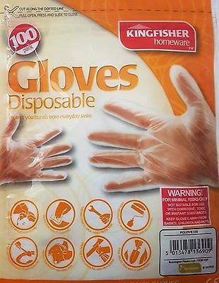 Clear disposable gloves, packs of 100, 200, 300, 400 & 500 Kingfisher