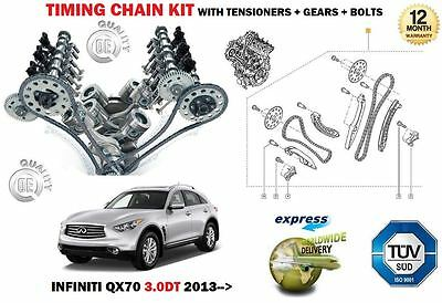 FOR INFINITI QX70 3.0DT SUV 24v  2013->NEW TIMING CHAIN TENSIONER KIT + GEARS