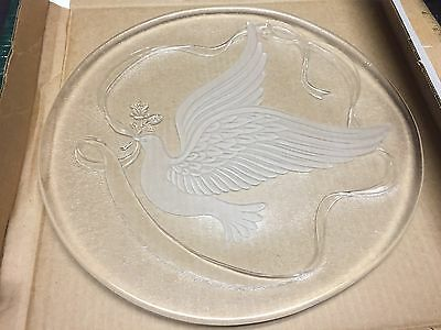"""LE Smith Glass Dove 12 1/2"""" Tray Serving Platter Frosted Dove Pattern"""