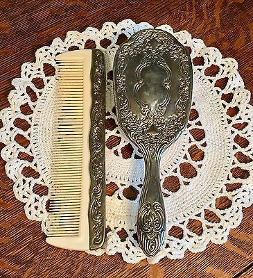 Antique/Vintage Silver Plate Brush And Comb Vanity Set