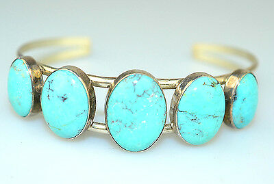 Southwestern Style Sterling Silver 5 Oval Chinese Turquoise Cuff Bracelet
