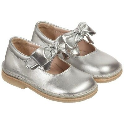 Il Gufo Baby Silver Leather Bow Shoes Eu 22 Uk 5