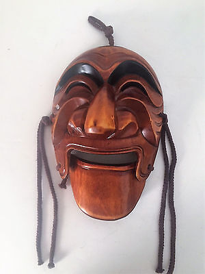 Noh Mask Japanese Dance Theater Hand Carved Wood w/ Movable Jaw