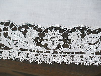 Vtg Antique Figural Griffins French Schiffli White Lace Table Mat Doily Tray