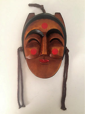 Noh Mask Japanese Dance Theater Hand Carved Wood