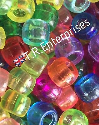 TRANSPARENT PONY BEAD MIX Pack 50 Mixed Colours 6x9mm