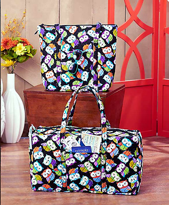 Overnight Bags For Women Gym Quilted Totes Kids Travel Duffel Black Owls Printed