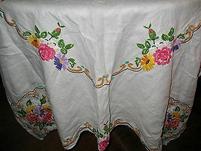 """Vintage BRIGHT FLORAL CREWEL EMBROIDERY TABLECLOTH 68"""" x 52"""" Rectangle Shape"""