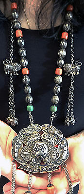 Massive Antique Chinese Silver Red Coral, Jade, Turquoise Lock Necklace 8 ounces