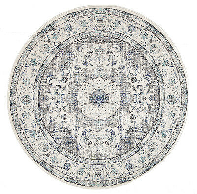 RUGHOME GREY FLORAL MEDALLION ANTIQUE TRADITIONAL ROUND RUG 200x200cm **NEW**