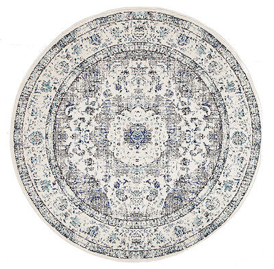RUGHOME GREY FLORAL MEDALLION ANTIQUE TRADITIONAL ROUND RUG 240x240cm **NEW**