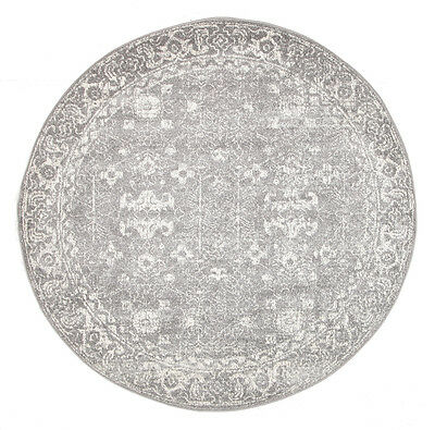 GREY FLORAL MEDALLION ANTIQUE TRADITIONAL ROUND RUG 150x150cm **NEW**