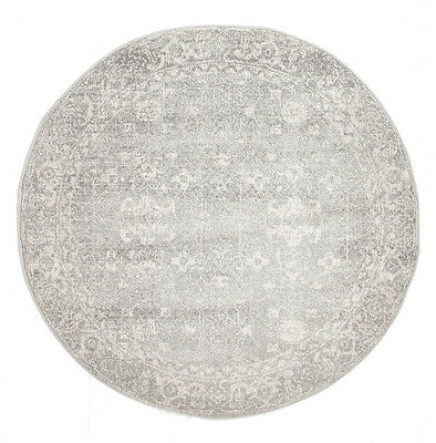 GREY FLORAL MEDALLION ANTIQUE TRADITIONAL ROUND RUG 200x200cm **NEW**