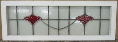 "LARGE OLD ENGLISH LEADED STAINED GLASS WINDOW Simple Floral 40.5"" x 14.25"""