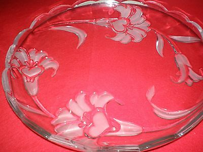 "Mikasa Frosted Flower Crystal 14"" Platter  Excellent Condition Mint"
