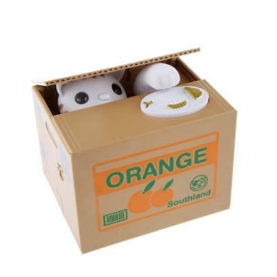 Automated White Kitty Cat Piggy Bank Steal Saving Money Coin Box de