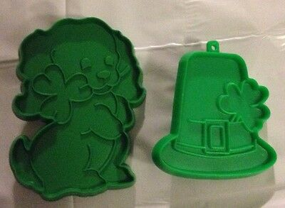 Vintage Hallmark St. Patrick's Day Puppy with Shamrock and Hat Cookie Cutters