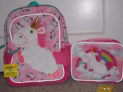 """Despicable Me Unicorn It's So Fluffy 16"""" Girls' Backpack Lunch Bag Box School"""