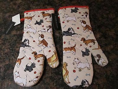 (2) Ulster Weavers Pair of Oven Mitts - Dachshund Dog - Basset Hound NWT