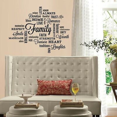 Home Decor FAMILY QUOTES 34 Wall Decals Letter Room Decor Quotables Stickers New