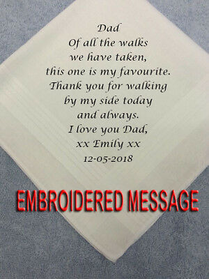 FATHER OF THE BRIDE PERSONALISED MENS HANKIEs FAVOURITE WALK DAD'S WEDDING GIFTS