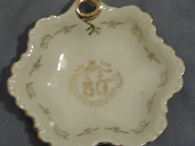 50th Anniversary Candy Dish Gold trimmed