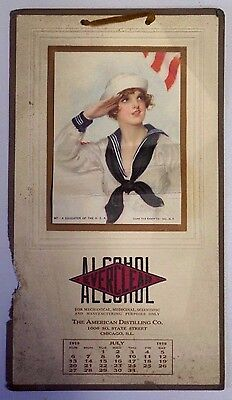 """Everclear Alcohol 1919 Calendar The American Distilling Co. """"a Daughter Of Usa"""""""