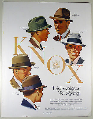 Vintage 1955 KNOX SPRING MEN'S HATS Full Page Large Magazine Print Ad