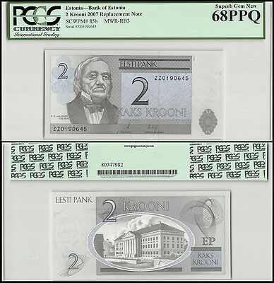 Estonia 2 Krooni, 2007, P-85b, UNC, REPLACEMENT, PCGS 68 PPQ
