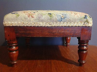 Antique Victorian Wooden Footstool With Upholstered Tapestry Top
