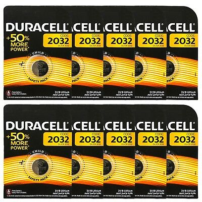 10 x Duracell CR2032 DL2032 3V Lithium Coin Cell Battery Long Lasting 2032