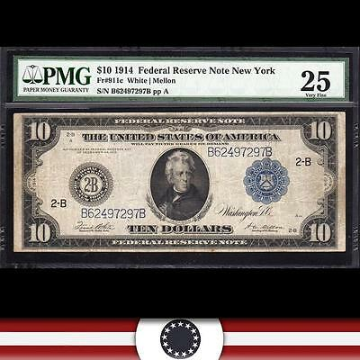 1914 $10 NEW YORK  Federal Reserve Note FRN  PMG 25  Fr 911c    B62497297B