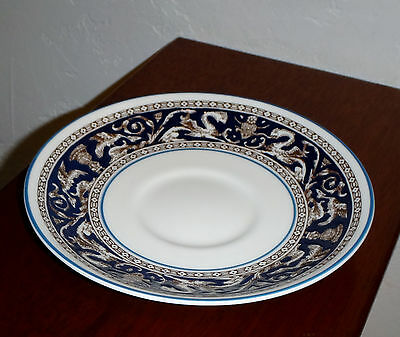 WEDGWOOD BONE CHINA - FLORENTINE DARK BLUE -  SAUCER for PEONY SHAPE FOOTED CUP