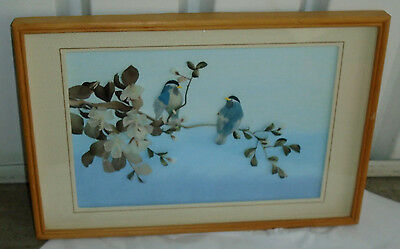 VINTAGE Oriental Feather Art Asian Blue Birds Blossoms Floral Framed 18x12