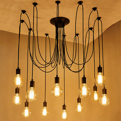 12 Head Vintage Industrial Chandelier Edison Light Ceiling Pendant Hanging Lamp