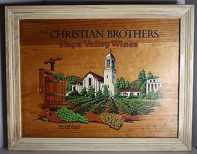 Vintage CHRISTIAN BROTHERS Napa Valley Wines Mont La Salle Wooden Framed Sign