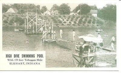 S Vintage Postcard Elkhart Indiana High Dive Swimming Pool