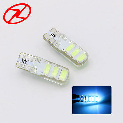 2x T10 W5W 6SMD COB LED Lamp Silica Interior License Light Bulb Ice Blue 8000K