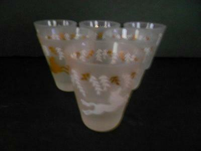 "6 Libby ""cavalcade"" Gold & White Horses On Frosted 5 Oz Juice/highball Glasses"