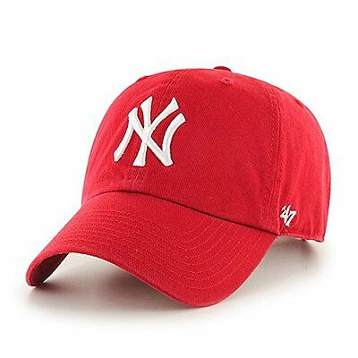 (TG. OSFA) rosso Cappello '47 Clean Up MLB New York Yankees, Unisex, Kappe MLB N