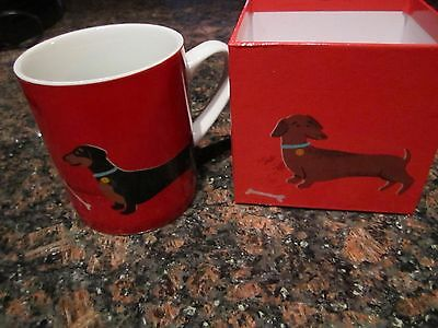 Dachshund Red Mug in Gift Dog Box  Black and Tan Brown Weiner Dog NEW