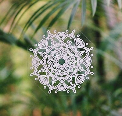 Mandala Sticker Window Laptop sunseal sunlight Car Decal White Wild Flower