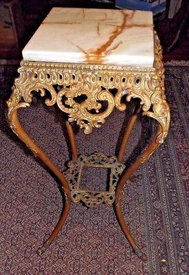Ornate Antique Victorian Brass & Marble Top Plant Stand Hall Table French Style