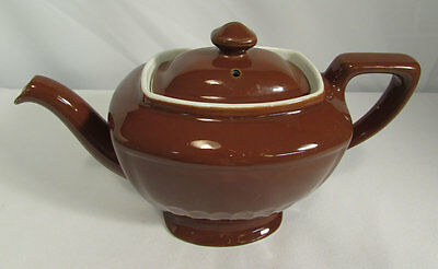 Vintage Hall China 4 Cup Hollywood Teapot in Brown Circa 1930-70
