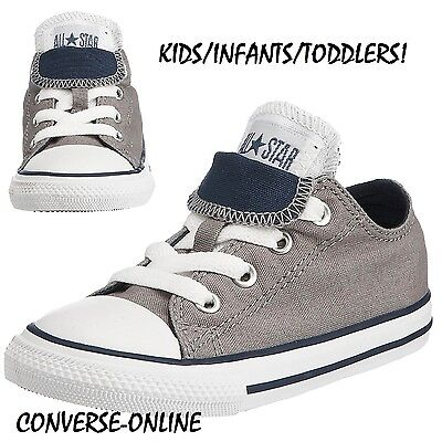 BABY Boy Girl Kids CONVERSE All Star GREY DOUBLE TONGUE OX Trainers 19 UK SIZE 3