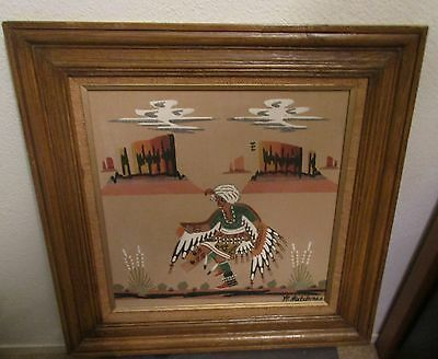 """Vintage Large Authentic Navajo Sand Art """"Sacred Eagle Dancer"""" by W. Watchman"""