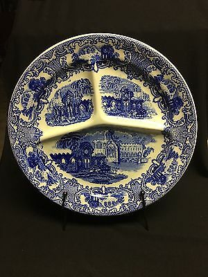 Petrus Regout Maastricht Divided Plate ABBEY Made in Holland Flow Blue