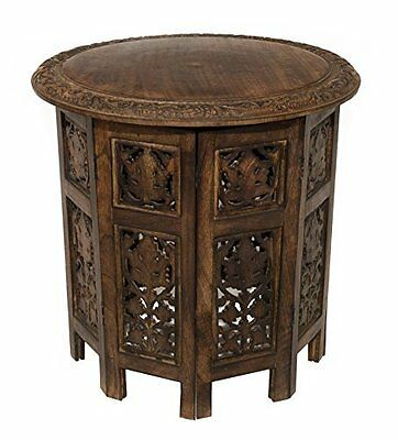 Antique Brown Jaipur Solid Wood Hand Carved Accent Table - Antique Brown