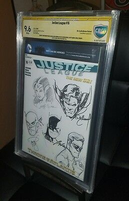 "Justice League #16, CBCS 9.6, ""We can be Heroes"" variant, Signed & Sketched"