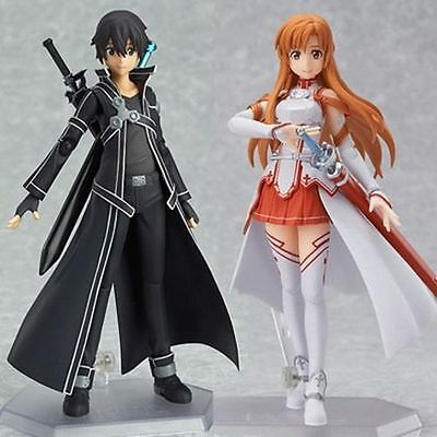 2PCS / Set Figma SAO Sword Art Online Kirito Asuna Sinon PVC Action Figure Toy